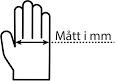 Hand mätt tvärs över vid fingebasen