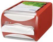 Röd/transparent plast för interfoldservetter med fack för exempelvis logotyp eller annan typ av information. Antal: 1 st.